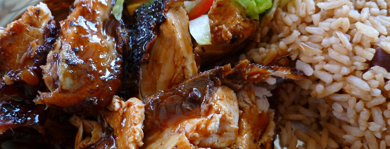 Jerk chicken with rice & peas